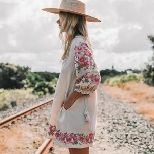 New Boho Embroidered Tassel Tunic Dress